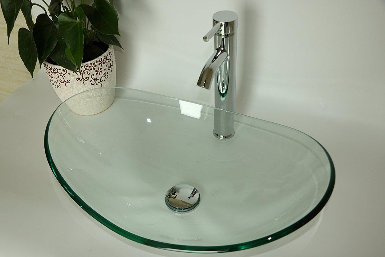 WALCUT USBR4019 Oval Clear Tempered Glass Vessel Sink Bath Sink Bowl Set by WALCUT