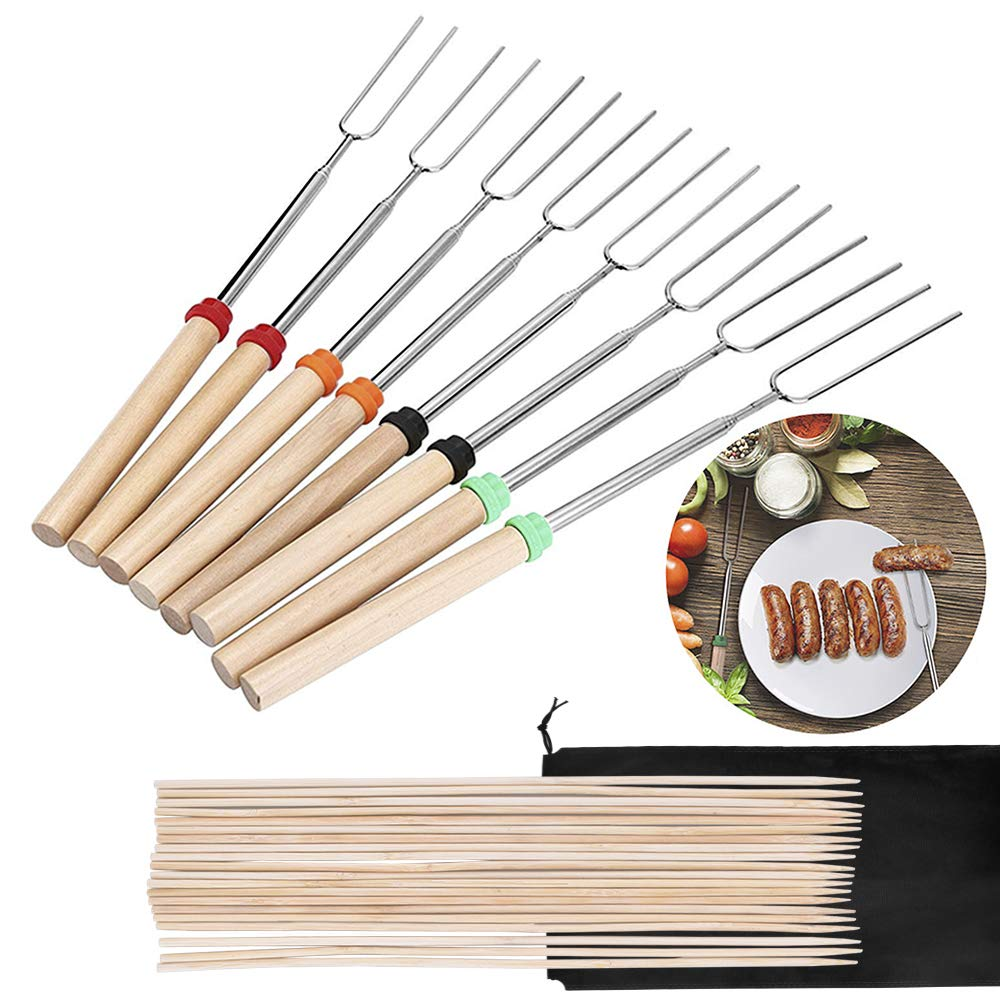 Geboor Marshmallow Roasting Sticks with 20 Bamboo Skewers Free Bag, Barbecue Stainless Steel Grill Sticks Extendable Forks for Campfire Firepit and Sausage BBQ YIYA HOME
