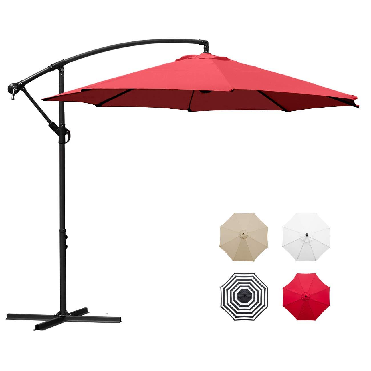 Sunnyglade 10' Outdoor Adjustable Offset Cantilever Hanging Patio Umbrella (Red)