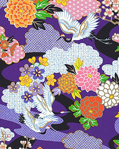 Japanese Crane & Landscape: Purple Asian Japanese Fabric (By The 1/2 - Stunners Asian