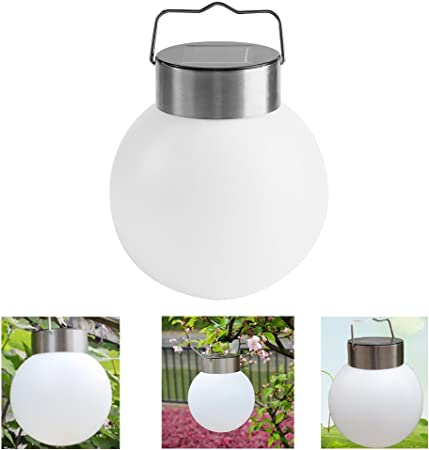 6 x Solar Garden Stainless Steel Hanging Crackle Ball Lights Lanterns White Led