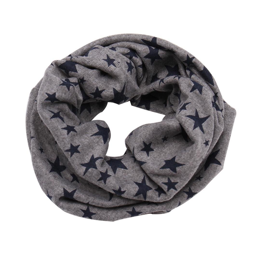 Hindom Kids Winter Warm Stars Printed Cotton Snood Wrap Shawl Scarf Neckerchief