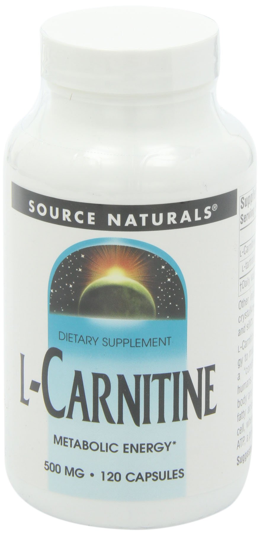 Source Naturals L-Carnitine 500 mg, Supports Energy Production, 120 Capsules