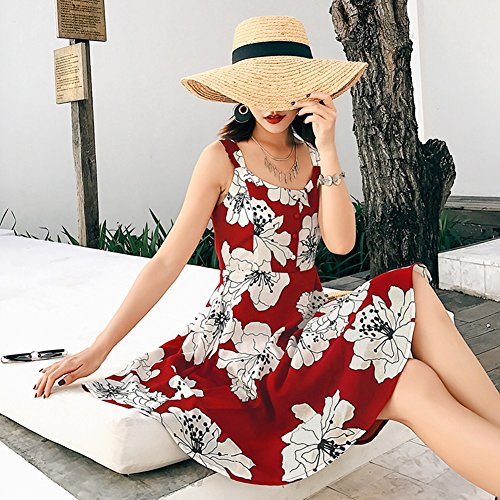 Rock Beach Sommer Rot kurzen Kleidung Red Dress Seaside weiblich Dress Sling Backless Bohemian Rock zqO8gnxO
