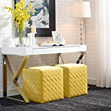 Convertible Coffee Table to Dining Table Inspired Home Alexis Yellow Velvet Cube Ottoman - Quilted | Upholstered | Living Room, Entryway, Bedroom