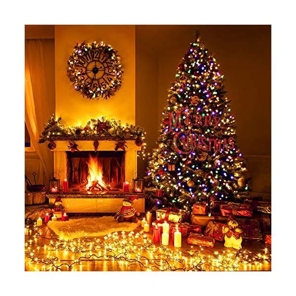 Qedertek Luci Albero di Natale, Catena Luminosa 20M 200 LED, Luci di Natale Esterno ed Interno, Filo verde scuro, Luci Colorate Addobbi Natalizi Esterno, Luci Natalizie da Esterno ed Interno 5 spesavip