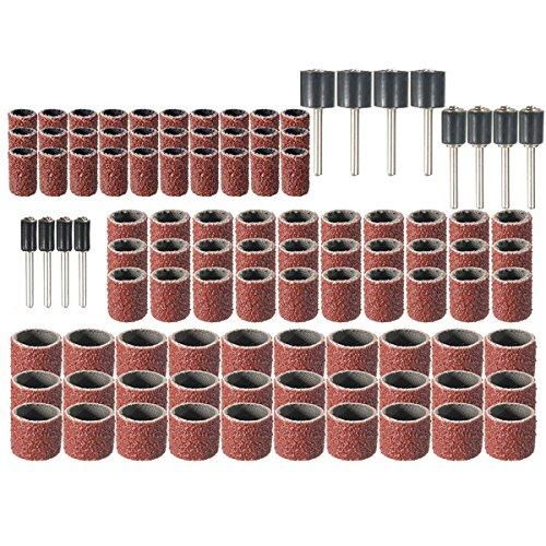 Wishfive 102pcs Universal 80 Grit Drum Sanding Sleeves Kit Rotary Tools with 1/2 3/8 1/4 Inch Sanding Mandrels For Dremel