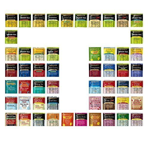 Energy Gift Set - Custom Assorted Bigelow, Stash, Twining Teas (60 Count) - Variety Flavorful Sampler Caffeinated and Decaffeinated Fresh Natural Teabags in Foil Packets with Adorable Gift Box