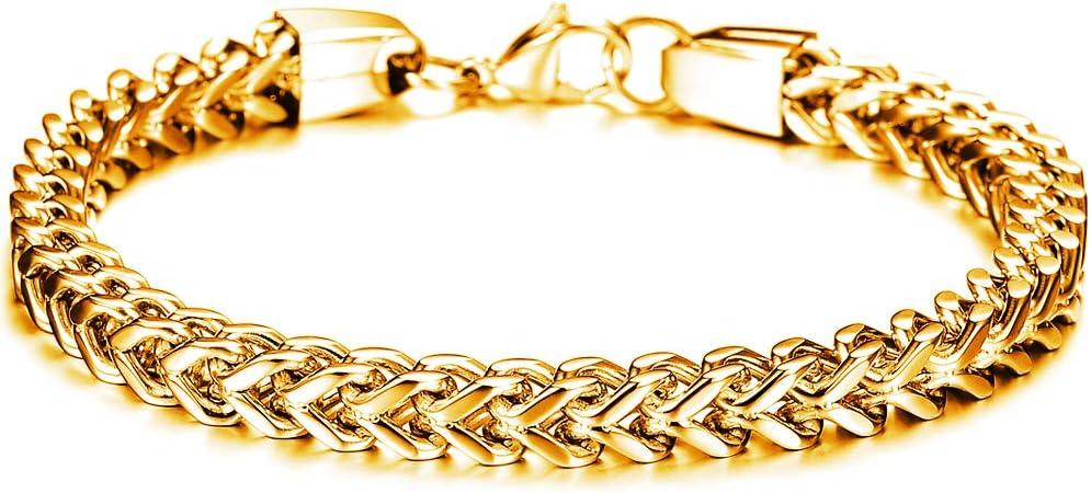 Men's Bracelet Stainless Steel Curb Chain Link Cuff Bracelet Bangle for Men Punk Biker Motorcy Bracelet