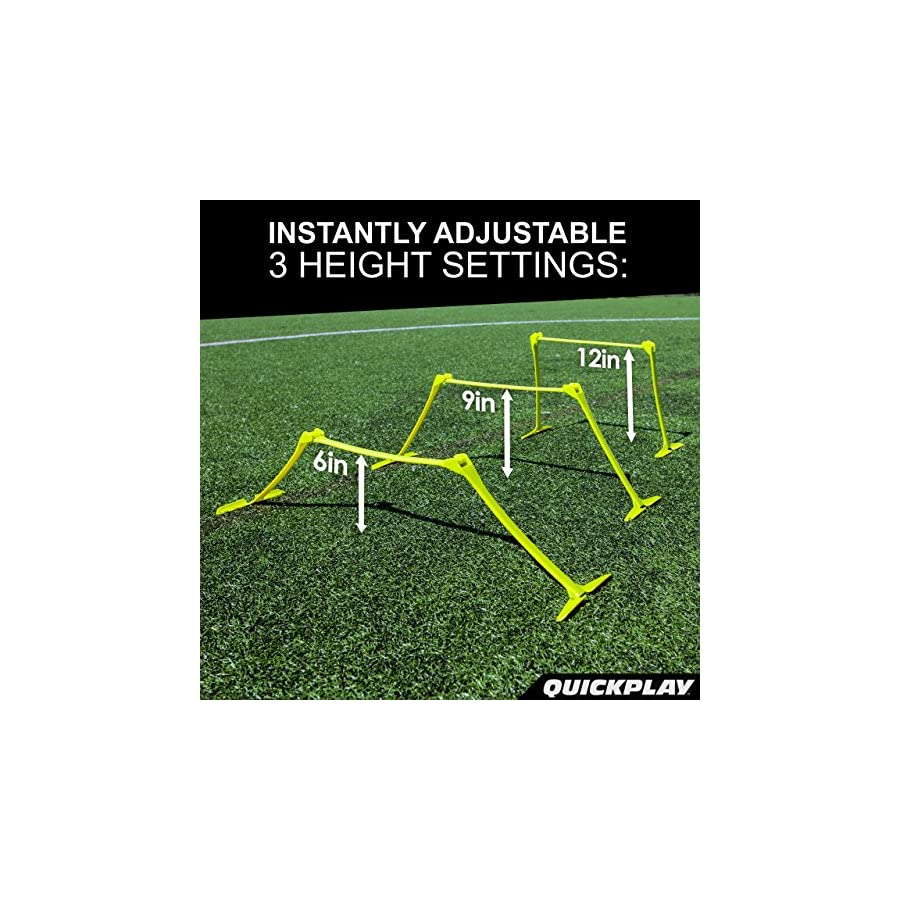 "QuickPlay PRO Adjustable Height: 6"", 9"" + 12"" All in One Speed Hurdles (Set of 6) Speed Training Hurdles, Agility Hurdles and Plyometric Hurdles"