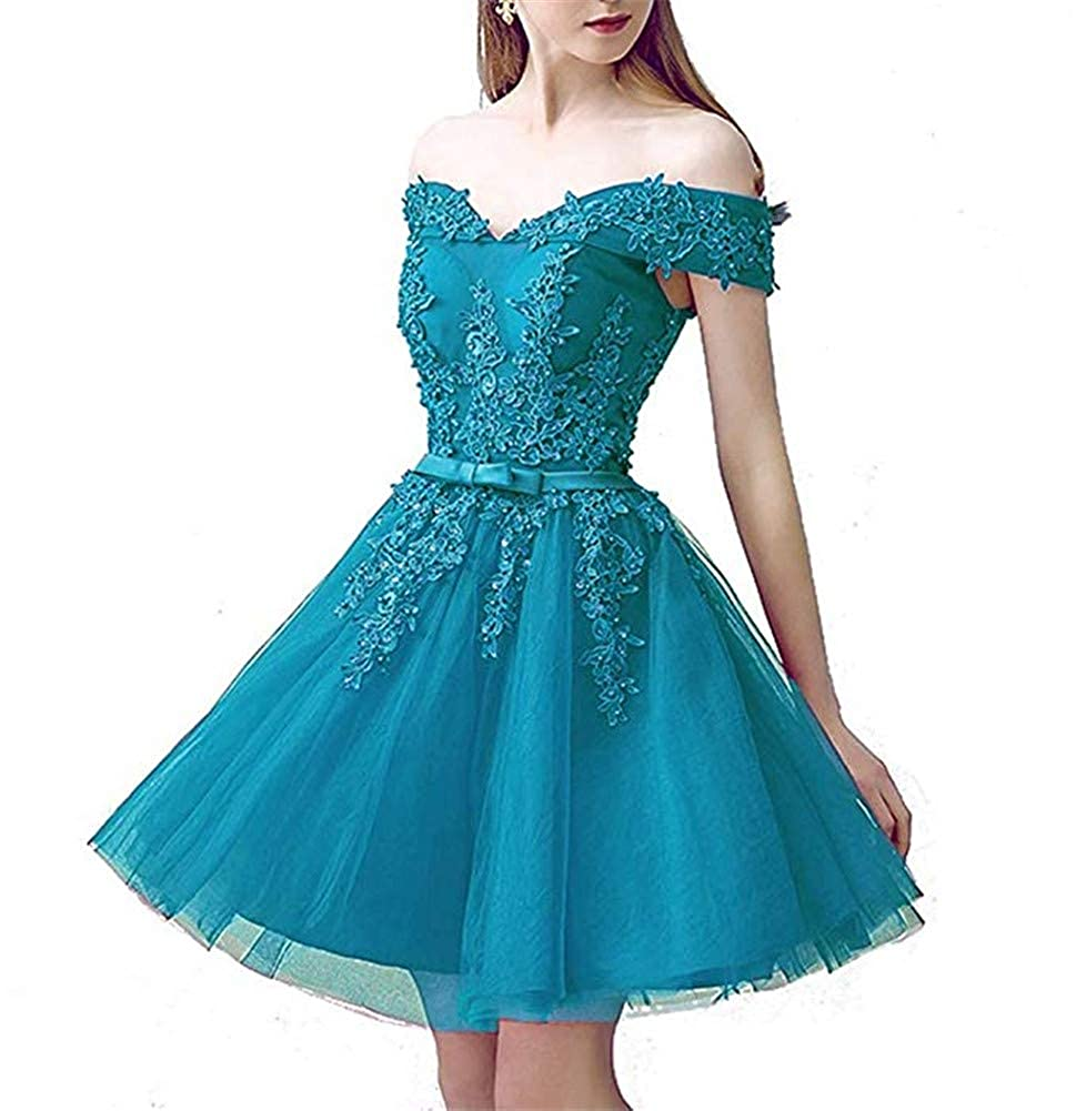 bluee Datangep Women's Aline Tulle Prom Homecoming Dress Off Shoulder Lace Bridesmaid Cocktail Evening Dress 2019