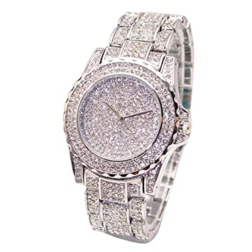 ❤ Amlaiworld Reloje Mujer reloj deportivo baratos Reloj de pulsera Relojes de cuarzo analógico para mujer Diamantes de negocios (plata): Amazon.es: ...