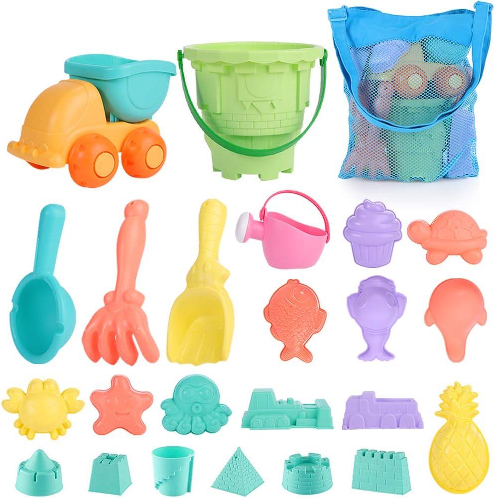 Mingfuxin Juguetes De Playa para Niños,Juego De Juguetes De Playa Y Arena para Niños con Camion Bucket Castle Moldes Y Bolsa De Malla Material Plastico Blando (Azul)