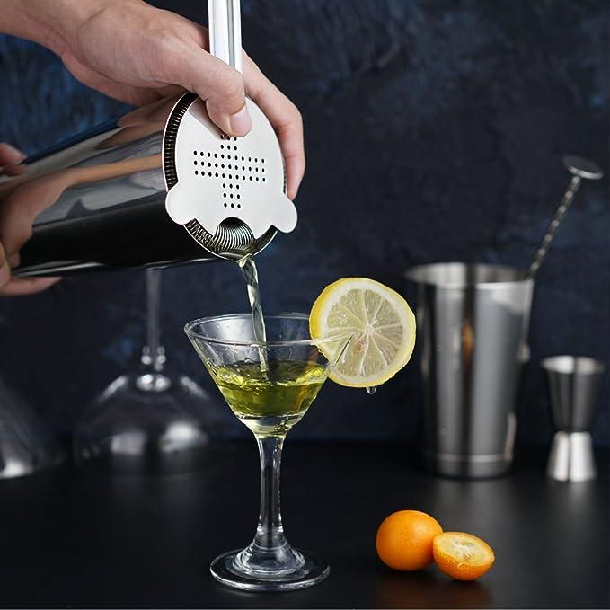 Boisson Muddler passoire /à Cocktail Hawthorne HOMEKEROS Cocktail Premium 8 pi/èces Ensemble de barware avec Shaker Boston pond/ér/é cuill/ère /à Bar et 2 becs verseurs. Double Jigger