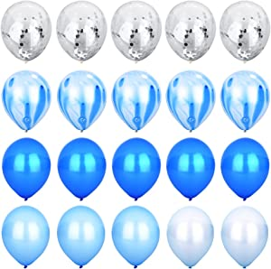 Blue & Silver Confetti Balloons Agate Marble Stripe Assorted Colors Party Balloon [12 Inch, Pack of 20] Metallic Latex Balloons for Baby Shower Birthday Wedding NYE Party Decoration Supply - Blue Set
