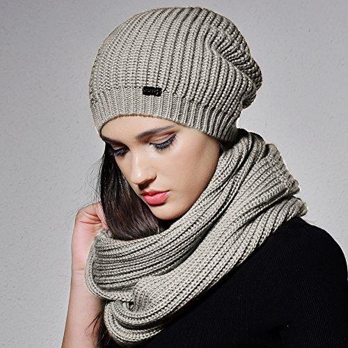 FURTALK Women Girls Merino Wool Slouchy Knit Beanie Hat Scarf Set Soft Winter Crochet Cap (Grey)