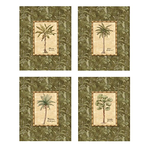 Palm Trees Island Home Decor - Set of 4 Island Beach Palm Trees Art Posters Home Office Bathroom Decor 8x10 Inches Great for Framing!