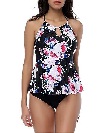 3aa09db468 OHDREAM Women's Two Piece Print Swimsuits Halter High Neck Criss Cross  Tankini Top Flowy Swimdress S