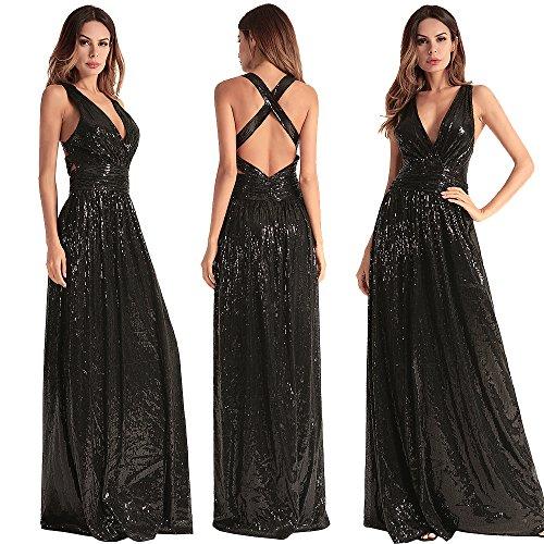 - BOMBAX Women Sequin V-Neck Bridesmaid Dress Crisscross Halter Evening Prom Dress