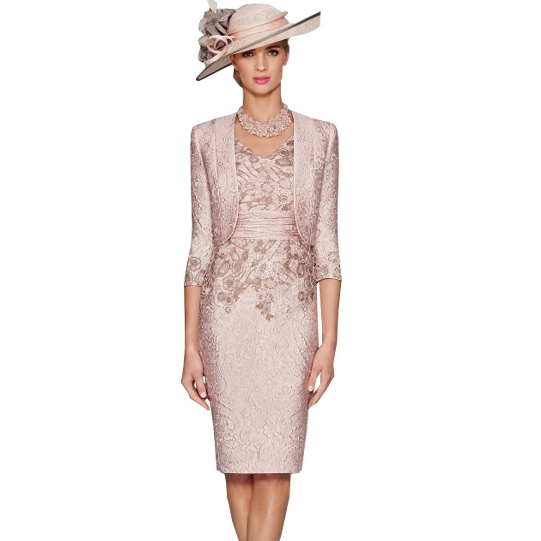 dressvip 2018 Rosa V-Ausschnitt knielangen Satin Prom Kleider mit 3 ...