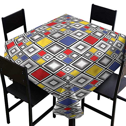 (home1love Geometric Water Resistant Table Cloth Colored Mosaic Square Stain Resistant, Washable 54 x 54 Inch)