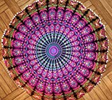 Mandala Floor Pillow covers Blue Round Bohemian Cushion Cover Ottoman Pouf Cover Hippie Decorative Cushion Cases (Pink 2)