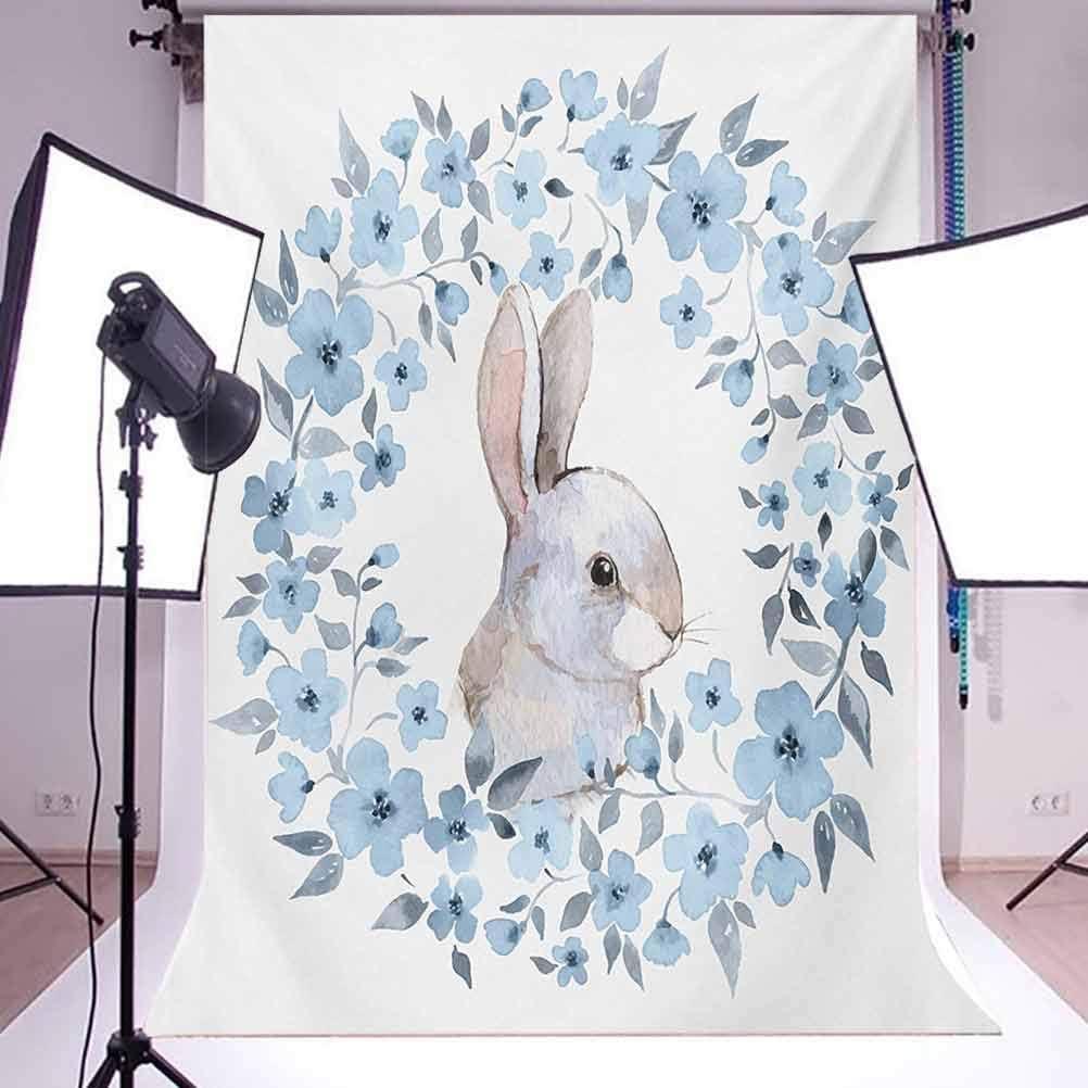 6x8 FT Backdrop Photographers,Bunny Rabbit Portrait in Floral Wreath Illustration Country Style Background for Kid Baby Boy Girl Artistic Portrait Photo Shoot Studio Props Video Drape Vinyl