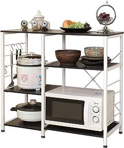 Soges Multi-layers Kitchen Baker's Rack Utility Microwave Oven Stand Storage Cart Workstation Shelf, Black 171-BK