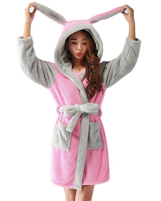 Bata para Estar por Casa Super Suave Pijama Ropa Longitud Completa con Capucha Albornoz: Amazon.es: Ropa y accesorios