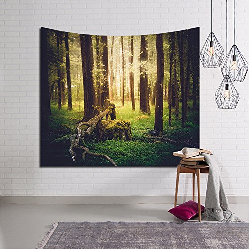 Twilight In Forest Woodland Tapestry Wall Hanging Cedar Tree Bole Tapestry Art for Indoor Outdoor Home Wall Decor Wallcloth Bedspread Throw Blanket #7