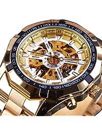 Watch Classy Skeleton X Dial Auto Self Wind Mechanical Movement Gold Bracelet