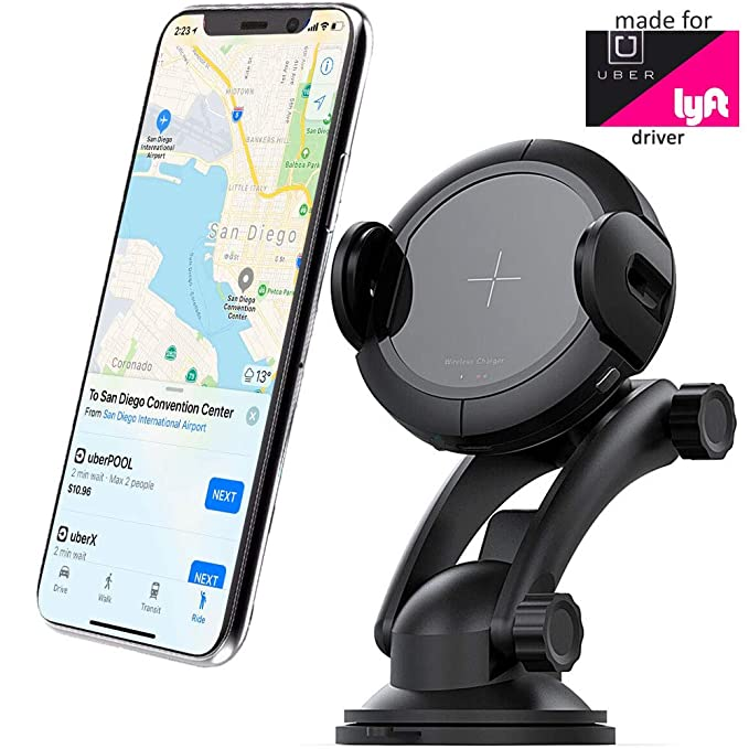 2018 Uber & Lyft Approved Qi Charger & Mount(Air Vent/Suction) -  Obstruction Free - 360 Rotation - Automatic Width Adjustment