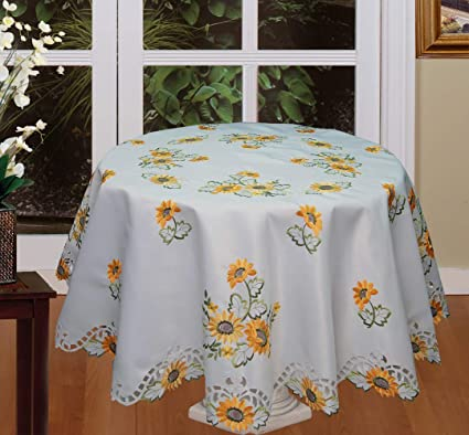 Merveilleux Creative Linens Sunflower Tablecloth Embroidered Cutwork Table Cloth  70u0026quot; Round With 8 Napkins White