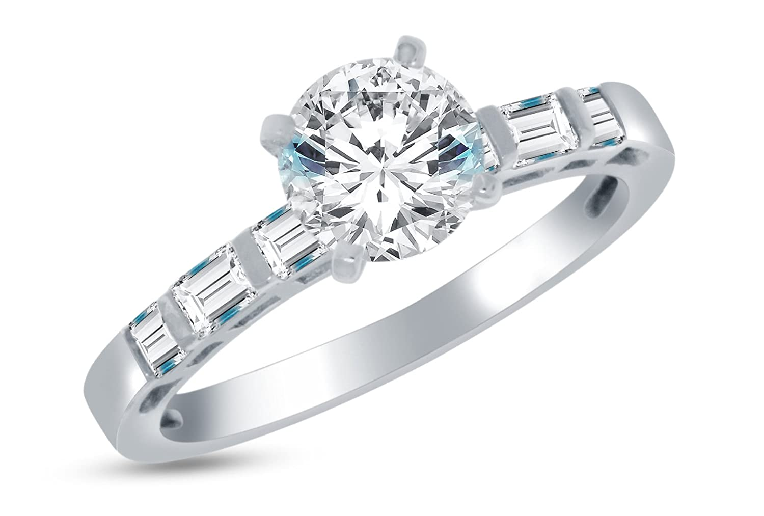 Solid 14k White Gold Highest Quality CZ Cubic Zirconia Bridal Engagement Ring w/Matching Wedding Band Two Ring Set - Round Brilliant Cut Solitaire with Princess & Baguette Side Stones (1.75cttw., 1.0ct. Center) Sonia Jewels SCRGN-717&719