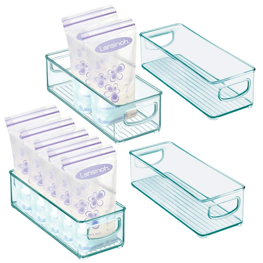 """mDesign Baby Food Kitchen Refrigerator Cabinet or Pantry Storage Organizer Bin with Handles - for Breast Milk, Pouches, Jars, Bottles, Formula, Juice Boxes - BPA Free, 10"""" x 4"""" x 3"""", 4 Pack - Sea Blue"""