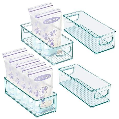 mDesign Juego de 4 Cajas de pl/ástico con Tapa el ba/ño y Otras Habitaciones Transparente Pr/ácticas Cajas de almacenaje para la Cocina Organizador de Cocina apilable