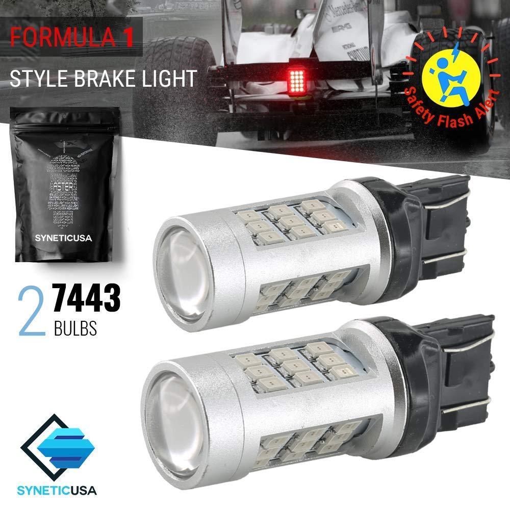 Syneticusa 3157 1157ストップブレーキ2835フラッシュストロボリアアラート安全33-LEDライト電球 7443 赤 B071LBLTJX 赤 7443