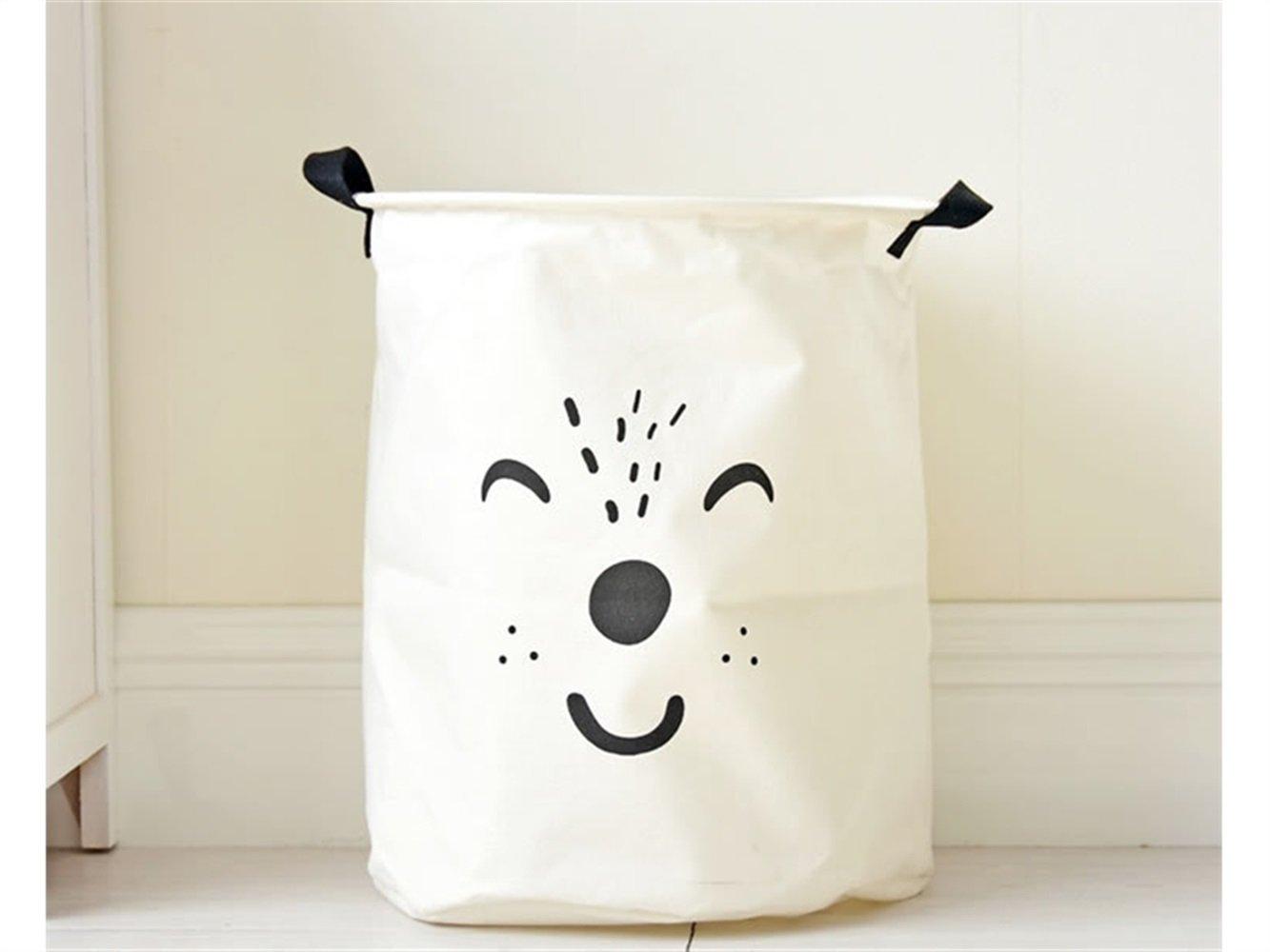 Gelaiken Lightweight Animal Pattern Tote Storage Basket Storage Bag Cotton and Linen Storage Box Sundries Storage Bucket(White)
