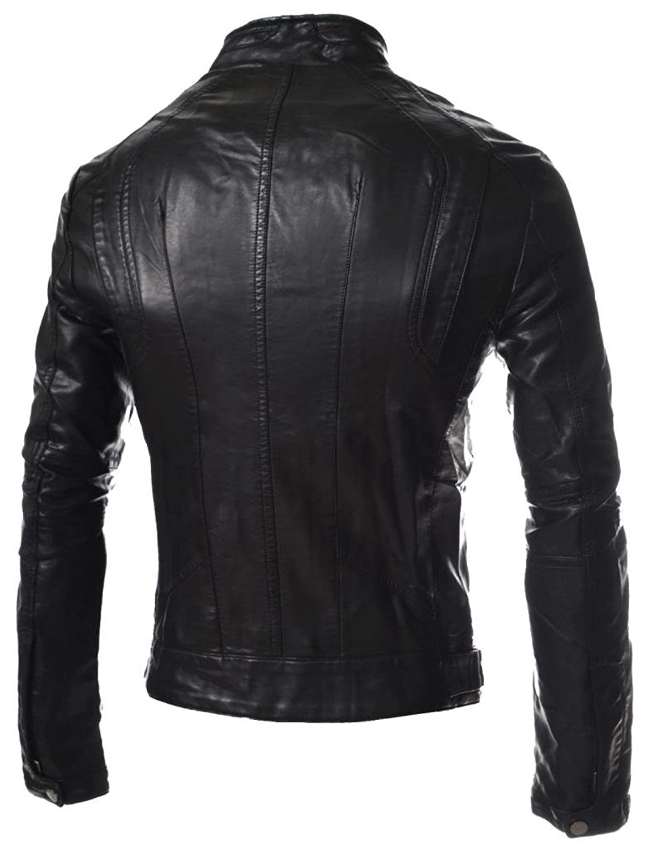 ABDys Men's Lambskin Leather jacket DKC349 Black