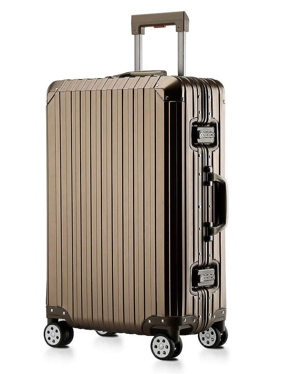 スーツケース アルミマグネシウム合金ボディ キャリーケース 丈夫 キャリーバッグ TSAロック付 軽量 大容量 静音 ビジネス 旅行出張 (titanium gold, 2XL) B07PSDM46V titanium gold 2XL