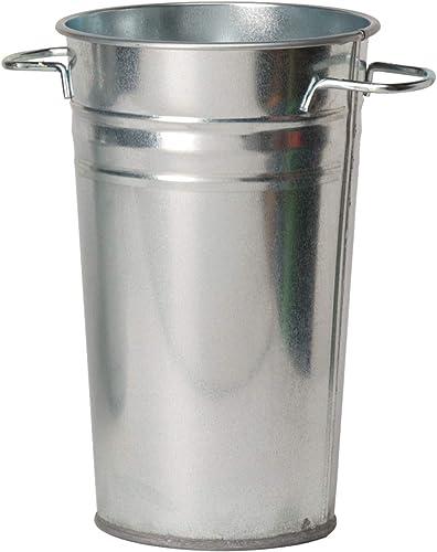 Houston International Trading Steel Metal vase, 10.5 D x 18 H, Galvanized Silver