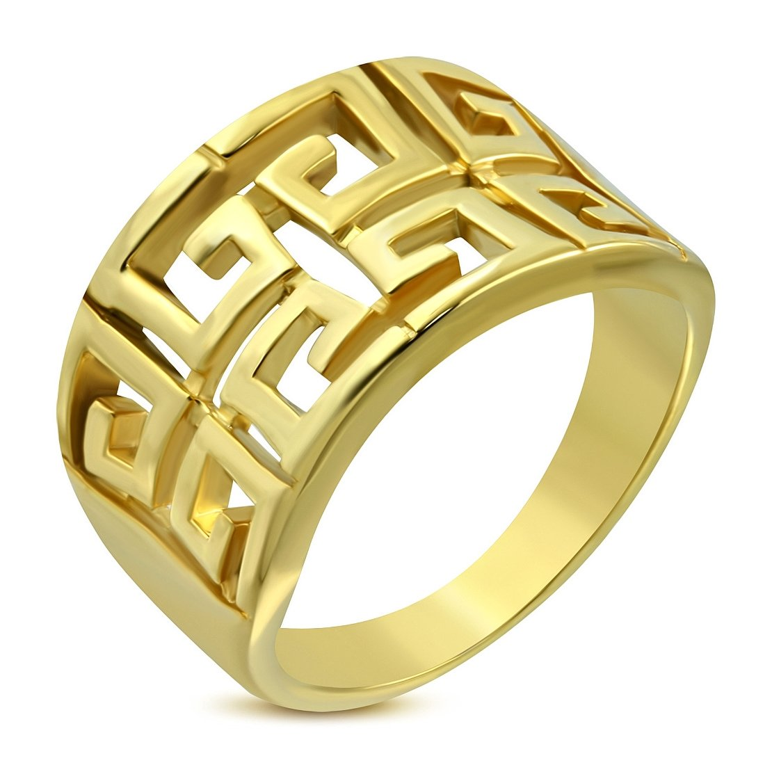 Stainless Steel Gold Color Plated Cut-out Greek Key Concave Ring NRG Jewelry