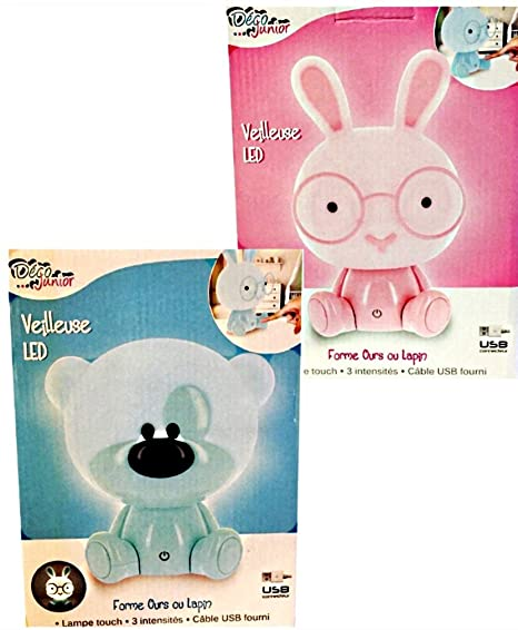 Pink And Blue Teddy Bear Rabbit Led Night Light Touch Lamp 3 Bicycle
