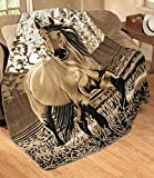 "Elegant Western Gallopping Horse Soft Fleece Throw Blanket - Polyester 63""x73"""