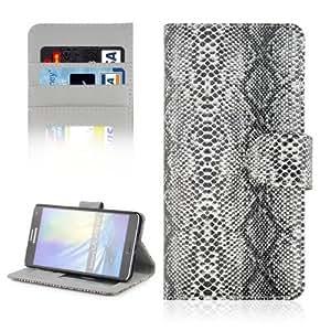 Snakeskin Texture Horizontal Leather Case Funda Flip Cover con bolsillos interiores & Wallet & Holder para Samsung Galaxy A7 (Grey)
