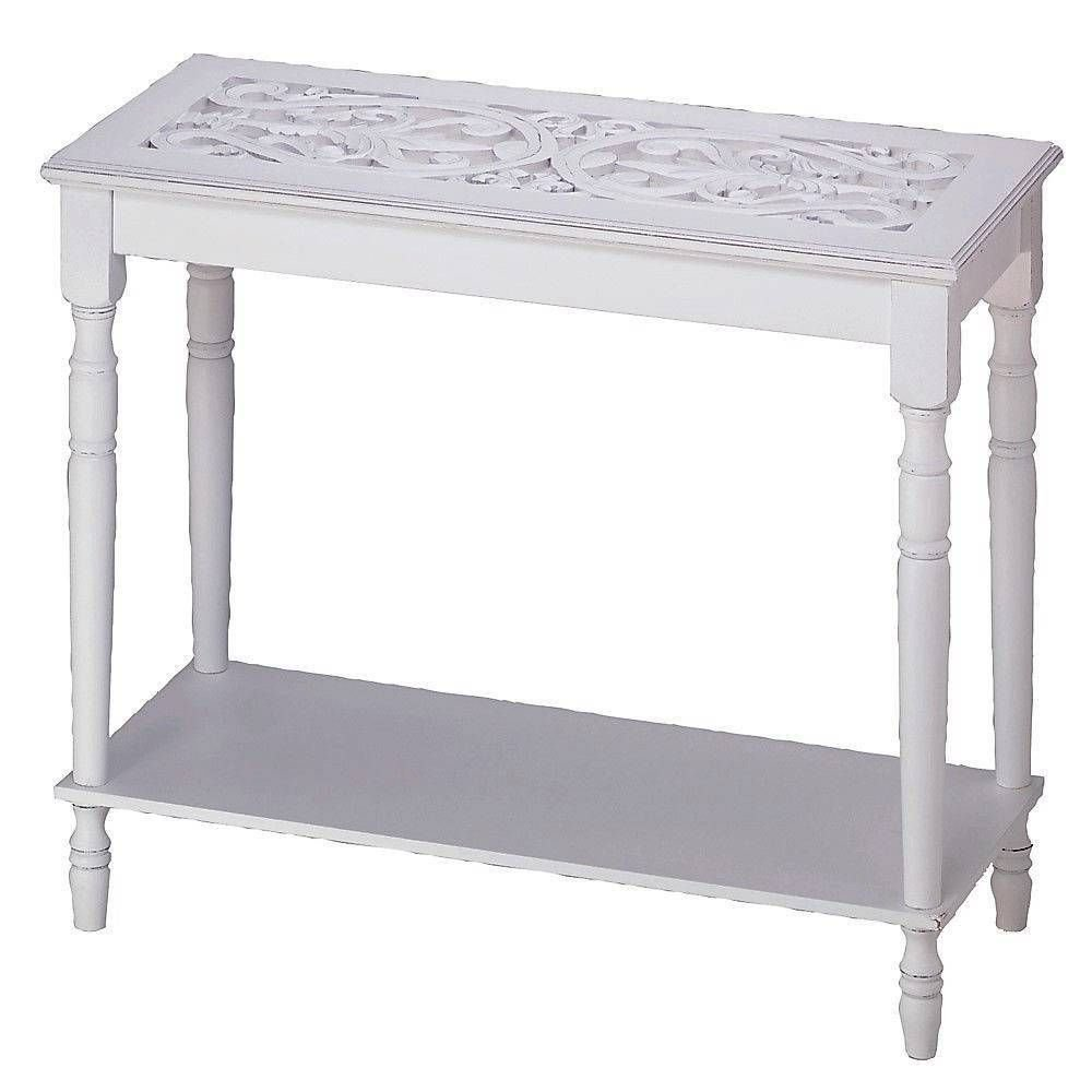 Amazon.com: Carved Top Distressed WHITE Chic Shabby Wood Sofa Console Entry  Hall Table Shelf: Kitchen U0026 Dining