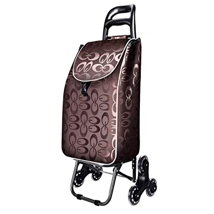 LIUSIXIAO-Shopping cart Hand Truck Shopping Cart Household Collapsible Crystal Wheel Trolley Lever Car Luggage Cart Climb The Stairs Contains Cloth Bag Load 25 Kg OYO Color : B