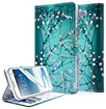Galaxy Note 2 Case, NageBee - Design Dual-Use Flip PU Leather Fold Wallet Pouch Case Premium PU Leather Wallet Flip Case for Samsung Galaxy Note 2 (Wallet Plum Blossom)