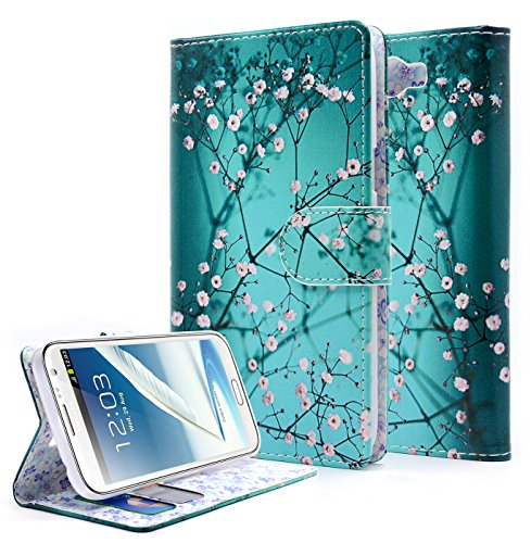 Note 2 Case, Galaxy Note 2 Case,NageBee [Kickstand Feature] Premium PU Leather Flip Fold Wallet Case with [ID&Credit Card Slot] for Samsung Galaxy Note 2 - Plum Blossom (Samsung Note 2 Cases For Women compare prices)