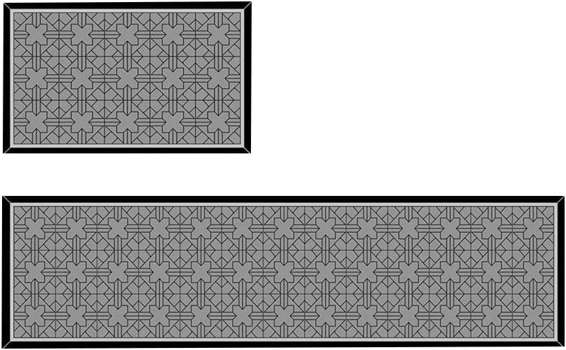 LHOME 2 Unidades Estera de Cocina Patrón Geométrico Antideslizante Estera de la Puerta Baño Alfombra Cortafuegos Alfombra Combinación (Color : A, Tamaño : 40x60CM+40x120CM)